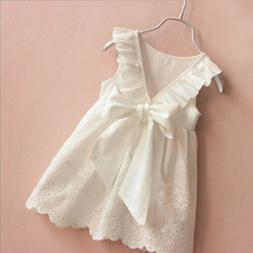 US Summer Kids Baby Girl Lace Bow Flower Princess Dresses Pa