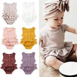 US Summer Newborn Kid Baby Girl Clothes Sleeveless Romper Tu