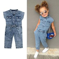 US Summer Toddler Baby Kids Girls Denim Romper Bodysuit Jump