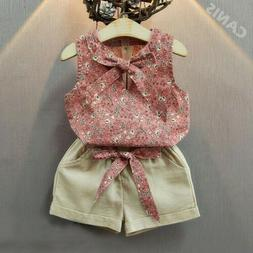 US Summer Toddler Kids Baby Girls Clothes Floral Tops Shorts