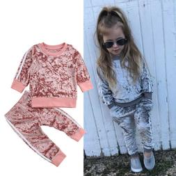 US Toddler Baby Kids Girl Clothes Sweatshirt Tops Pants Outf