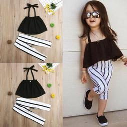 US Toddler Kid Baby Girl Clothes Strap Tops+Stripe Long Pant