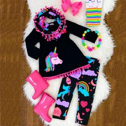 US Toddler Kid Baby Girl Unicorn Outfit Clothes T-shirt Top