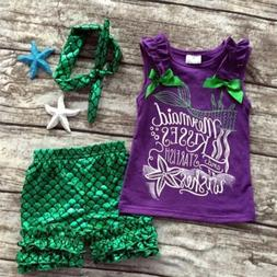 US Toddler Kids Baby Girl Mermaid Clothes Tank Tops+Pants+He