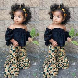 US Toddler Kids Baby Girls Crop Tops Sunflower Pants 2Pcs Su