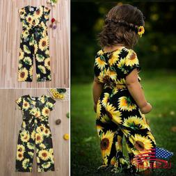 US Toddler Kids Baby Girls Sunflower Romper Bodysuit Jumpsui