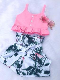 flamingo toddler baby girls vest crop tops