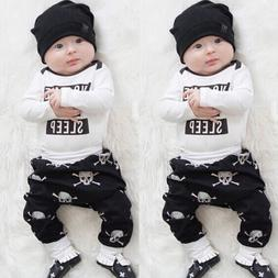 USA Newborn Baby Girls Boys Tops Romper+ Skull Long Pants Ou