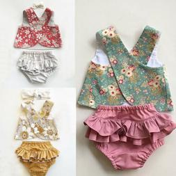 USSTOCK Flower Baby Girls Outfit Clothes Vest Tops T-shirt+T