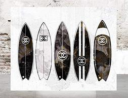 Wall Art Poster Print - Surfboards COCO CHANEL, Shoes, Book,